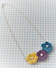 Bobbles & Scallops 3 Crochet Flowers Necklace - Yellow Purple & Blue