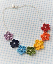 Bobbles & Scallops Crochet Rainbow Flower Necklace - Multicolour