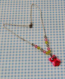Bobbles & Scallops Resin Owl Necklace - Pink