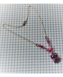 Bobbles & Scallops Resin Owl Necklace - Purple
