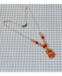 Bobbles & Scallops Resin Owl Necklace - Yellow