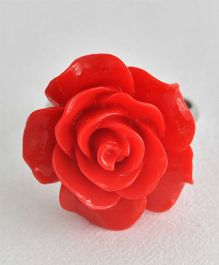 Bobbles & Scallops Big Resin Rose Ring - Red