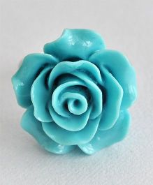Bobbles & Scallops Big Resin Rose Ring - Blue