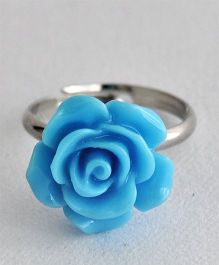 Bobbles & Scallops Small Resin Rose Ring - Blue