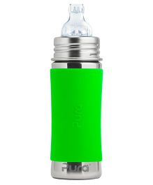 Pura Sleeve Stainless Steel Sippy Cup Feeding Bottle Green - 325 ml