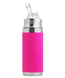Pura Straw Vaccum Insulated Bottle Pink - 260 ml