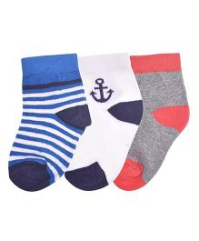 Footprints Super Soft Organic Cotton Socks Stripes & Anchor Design Pack Of 3 - White Red Blue