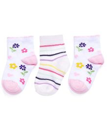 Footprints Super Soft Organic Cotton Socks Flowers & Stripes Design Pack Of 3 - White Pink
