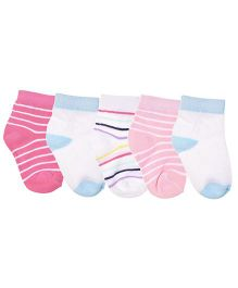 Footprints Super Soft Organic Cotton Stripes Design Socks Pack Of 5 - White Pink Blue