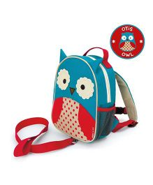 Skip Hop Mini Backpack With Rein Owl Design Blue Red - 7.5 inches