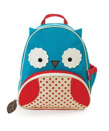 Skiphop School Bag Owl Design Blue Yellow - 12 inches