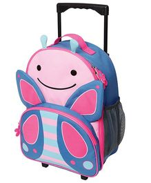 Skip Hop Travel Rolling Luggage Backpack Blossom Butterfly Design Blue Pink - 17 inches
