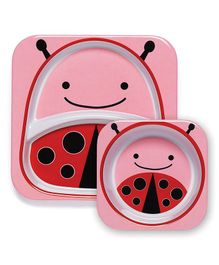 Skiphop Feeding Divided Plate And Bowl Set Ladybug Print - Pink