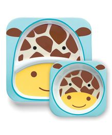 Skiphop Feeding Divided Plate And Bowl Set Giraffe Print - Multi Color