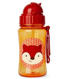 Skiphop Zoo Sipper Bottle With Straw Fox Print Orange - 350 ml