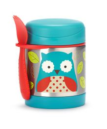 Skip Hop Insulated Food Jar And Fork Set Owl Print - Blue Red