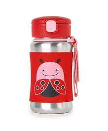 Skip Hop Insulated Stainless Steel Straw Water Bottle Ladybug Print Red - 350 ml