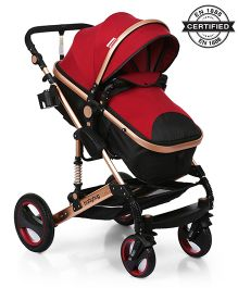 Babyhug 2 in 1 Royal Ride Stroller Cum Convertible Carry Cot - Maroon