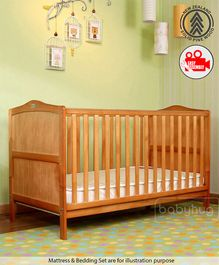 Babyhug Merlino 2 in 1 Wooden Cot Cum Junior Bed with Height Adjustable & Plug and Play Assembly - Antique