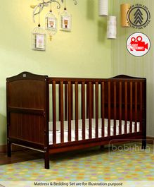 Babyhug Merlino 2 in 1 Wooden Cot Cum Junior Bed with Height Adjustable & Plug and Play Assembly - Walnut