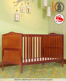 Babyhug 2 in 1 Height Adjustable Merlino Wooden Cot Cum Bed - Walnut