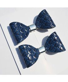 Little Tresses Jute Textured Bow Alligator Clip Set Of 2 - Navy Blue