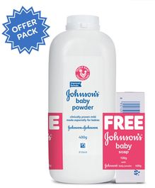 Johnson's Baby Powder 400 gm Plus Get Free New Johnson's Baby Soap 100 gm