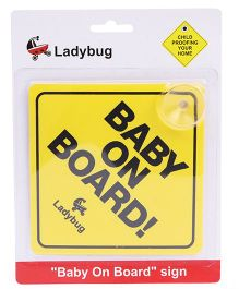 Ladybug Baby On Board Sign - Yellow