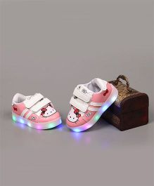 Little Maira LED Cartoon Printed Velcro Shoes - Pink