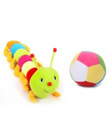 Deals India Colorful Caterpillar And Ball Soft Toy Combo - Multicolor