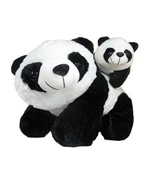 Deals India Mother Panda With Baby Panda Soft Toy Black White - 45 cm