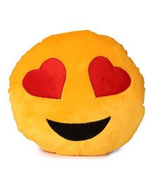 Deals India Heart Eyes Smiley Cushion - Yellow
