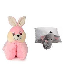 Deals India Folding Bunny Pillow And Elephant Pillow Set Of 2 - Pink Grey