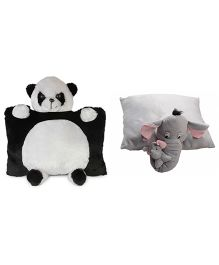Deals India Panda Pillow And Elephant Pillow Set of 2 Grey Black White - 40 cm