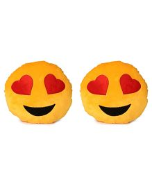 Deals India Heart Eyes Smiley Cushion Set Of 2 - Yellow