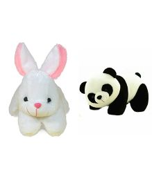 Deals India Rabbit And Panda Soft Toy - White Black Pink