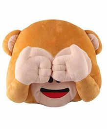 Deals India See No Evil Monkey Smiley Cushion - Brown