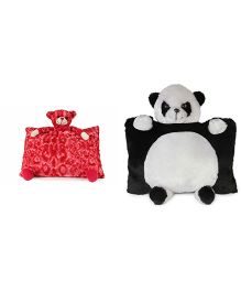 Deals India Panda And Bear Pillow - Black White Red