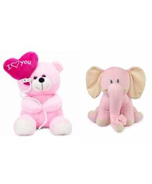 Deals India Balloon Teddy Bear And Elephant Soft Toy - Pink