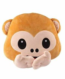 Deals India Speak-No-Evil Monkey Smiley Cushion Brown - 40 cm