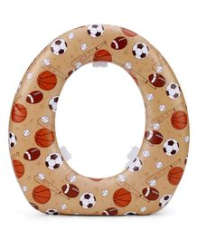 Babyhug Soft Cushioned Baby Potty Seat Ball Print - Dark Beige