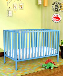 Babyhug Visby Wooden Cot with 3 Level Height Adjustment & Plug and Play Assembly - Blue