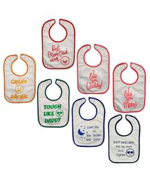 Meukebaby Bibs Quote Printed Pack of 7 - Multicolour