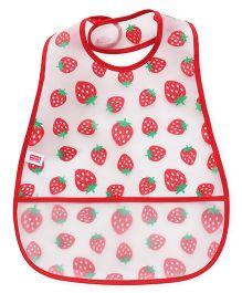 Babyhug Plastic Bib Strawberry Print - White Red