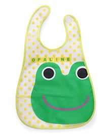 Babyhug Waterproof Plastic Crumb Catcher Bib Frog Print (Color May Vary)