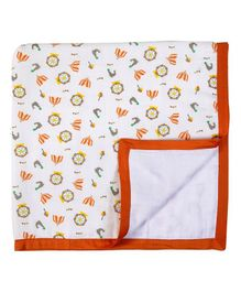 My Milestones Muslin Blanket 3 Layered -  Carnival print White Orange