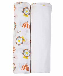 My Milestones 3 in 1 Muslin Swaddle Wrapper Pack of 2 - Carnival Print White Orange