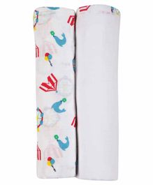 My Milestones 3 in 1 Muslin Swaddle Wrapper Pack of 2 - Carnival Print White Blue
