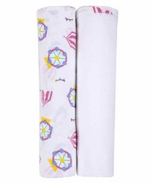 My Milestones 3 in 1 Muslin Swaddle Wrapper Pack of 2 - Carnival Print White Pink