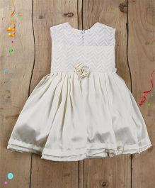 Tiny Toddler Satin And Embroidery Classy Dress - Cream